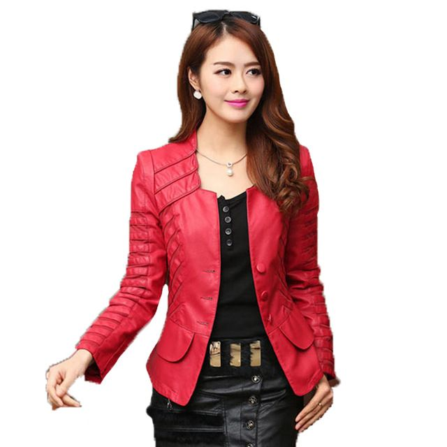 Good price 2016 Autumn leather jacket women casual long sleeve faux short coat fashion mosaic plus size PU cheap bomber jacket femininas just only $26.87 with free shipping worldwide  #womanjacketscoats Plese click on picture to see our special price for you