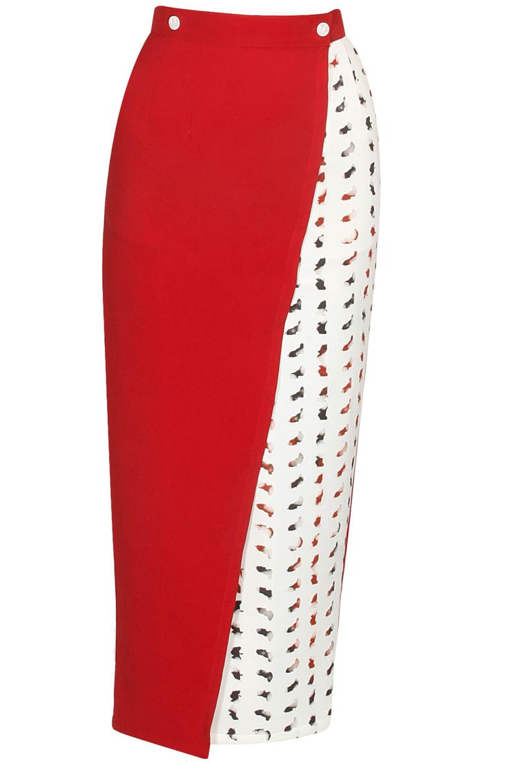 Red and white satin printed wrap skirt available only at Pernia's Pop Up Shop.