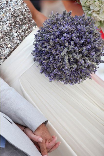 lavender bouquet... reminds me of a pomander--could make that for bridesmaids and have bouquet for bride