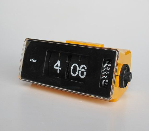 Vintage Flip Clock Alarm Clock / Braun Phase 2 / Orange Table Clock by Dietrich Lubs / Retro 70's Germany / Yellow & Black