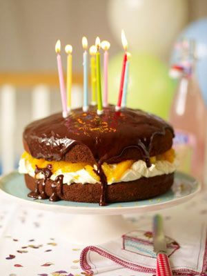 Jamie Oliver's cake.  Everyone needs a reliable party cake, and this is mine. It looks the business, is delicious served with cream and even has some fresh fruit in it. It'll keep for a day, so you can make it ahead of time if you like. What more can I say? Just tuck in!