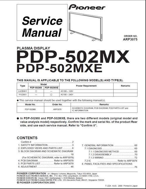 Pioneer PDP-502MX , edition ARP-3075 year 2000 , Kuro Plasma TV Service Manual 100 per DOWNLOAD