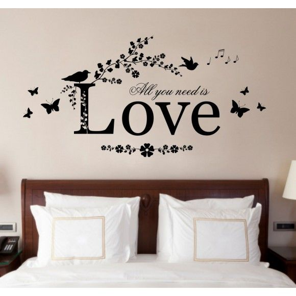 """All you need is love"" Vinyl wall art sticker. Pick your colour! Add a bit of character to a room. Made in UK http://www.madecloser.co.uk/christmas/gifts-wall-art/all-you-need-is-love-bedroom-quote"