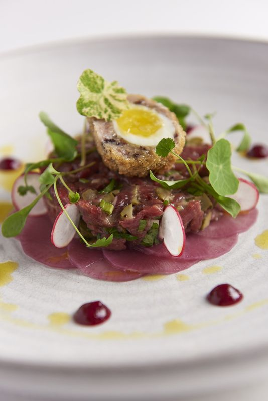 Venison tartare with haggis Scotch egg, damson, juniper and sloe gin Jam. Recipe by James Mackenzie, executive chef, The Pipe & Glass. Serve with some pickled fresh