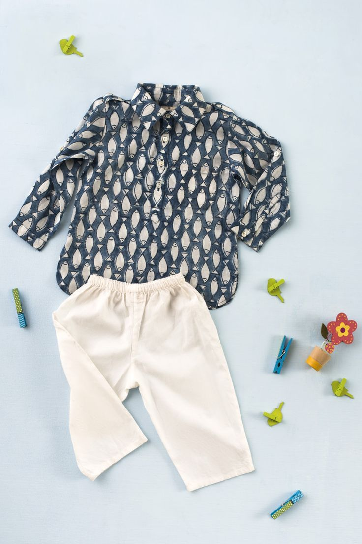 Introducing a new range of Gumdrops apparel, illustrated with a child-like hand…Hand block printed lotuses, flamingos and fish adorn this range of soft cotton kurtas, pyjamas, salwar kameezes, shararas and dupattas in delightful shades of spring, just for your little ones.