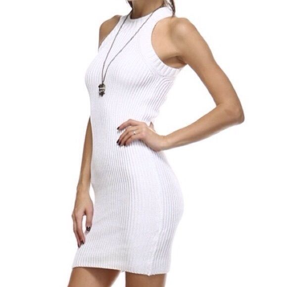 White Fitted Knit Dress. White Fitted Knit Dress. Made of 60% cotton and 40% acrylic. This sexy knit dress hugs your curves in all the right places! 💋 Tea n Cup Dresses Mini
