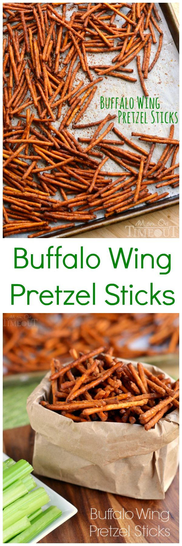 These Buffalo Wing Pretzel Sticks are the perfect snack to enjoy while watching the game! | MomOnTimeout.com