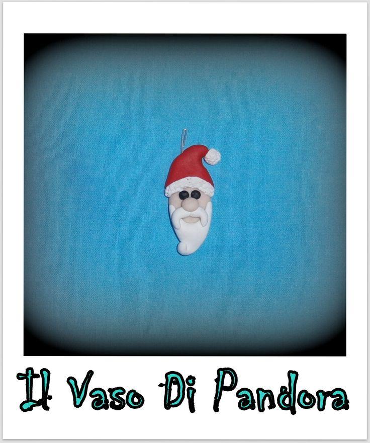 Fimo, Babbo Natale, disponibile come collana, portachiavi, calamita, decorazione natalizia