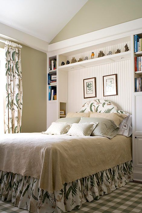 clever bedside storage and lighting for a small space