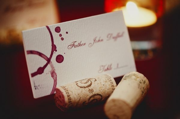 I liked the idea of the red circles on the place cards, looked like spilled wine.