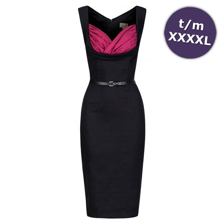 Lindy Bop Wiggle Vanessa pencil jurk zwart/sangria roze - Vintage, 50'