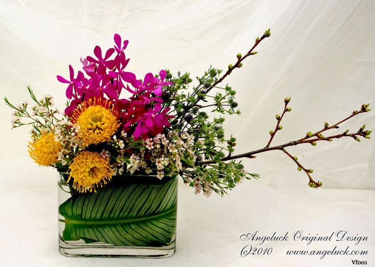 Custom floral arrangements asymmetric with tight
