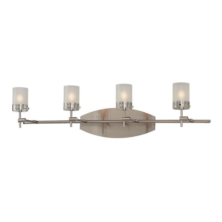 George Kovacs Shimo 4-Light Brushed Nickel Bath Light with Clear and Acid Etched Glass