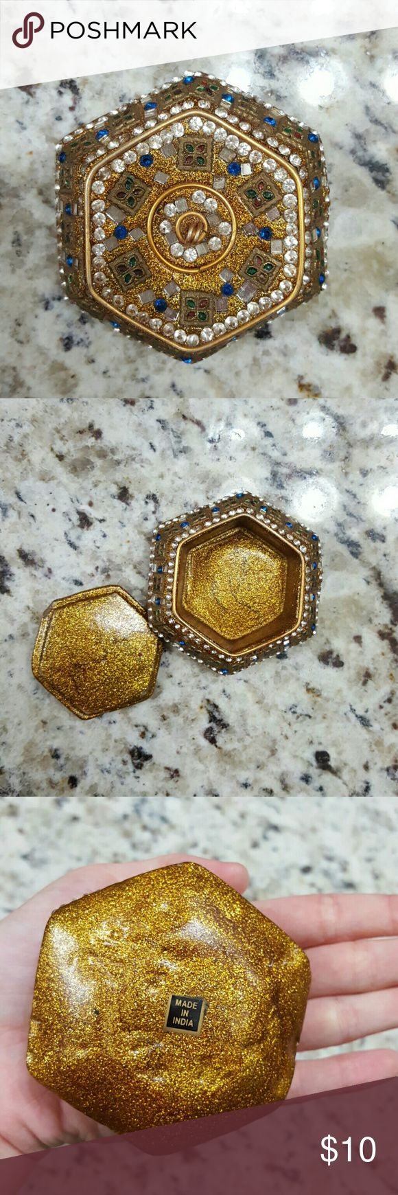 Jewelry box Gold glitter box with stones,mirror, and jewels. Perfect for rings or earrings. Made in india. Other