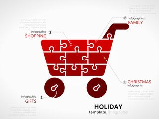 Christmas holiday infographic template with red shopping cart symbol made out of jigsaw pieces