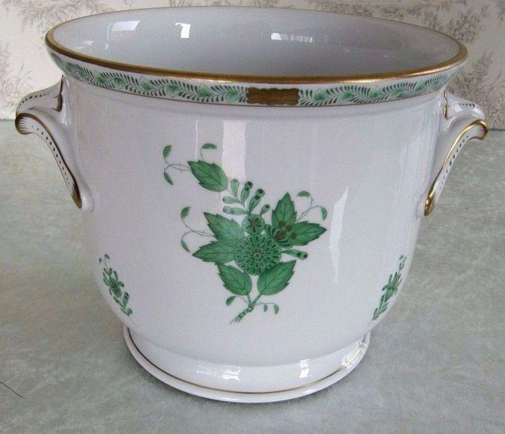 Herend Green Chinese Bouquet Hand Painted Porcelain Planter Cachepot 7212/AV
