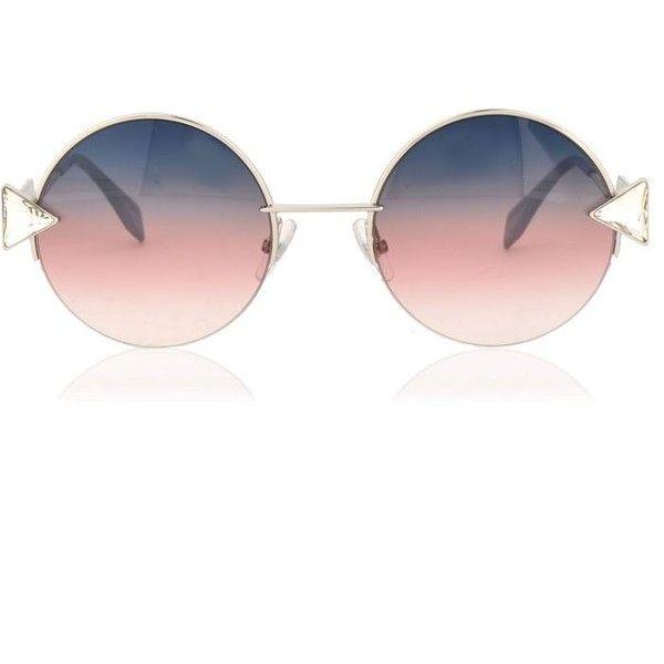 Fendi Rainbow Rounded Sunglasses (£300) ❤ liked on Polyvore featuring accessories, eyewear, sunglasses, gold, fendi, fendi glasses, rounded glasses, fendi eyewear and rainbow sunglasses