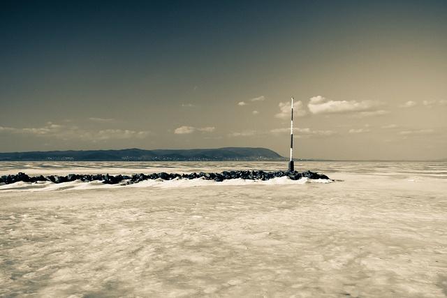 Icy Lake Balaton #Balaton #Hungary