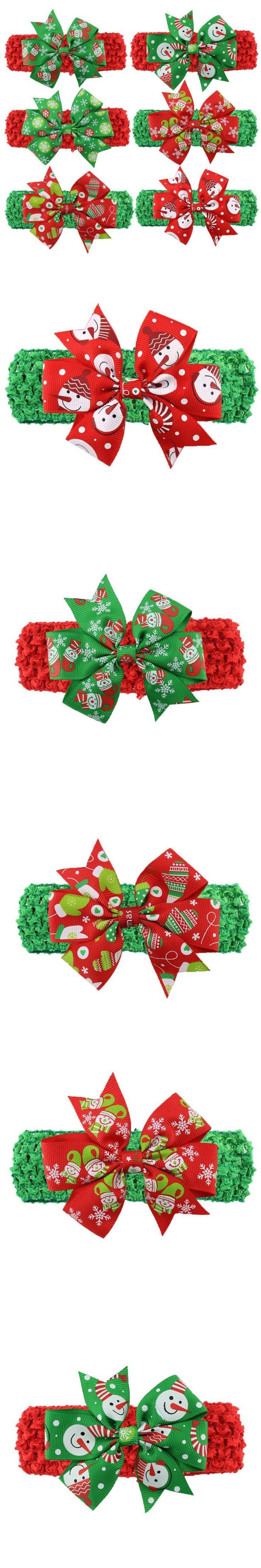 6 Pcs Headband for Girls Elastic Ribbon Christmas Headbands Acessorios De Cabelo De Menina #2658 $5.89