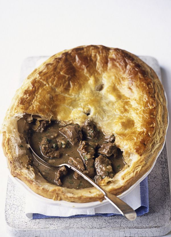 Beef shin really benefits from long slow cooking. Chef John Torode uses it to make a pie filling, baked with onions, thyme and beef stock to create a rich gravy and tender meat.