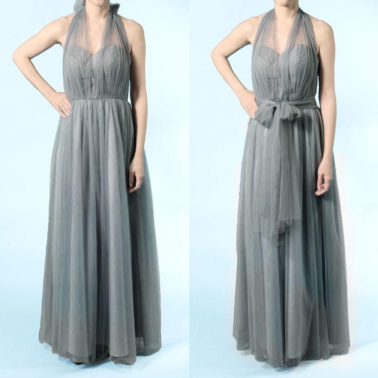 インフィニティロングドレス・ボビネット(シャドーグレー)ボビネットならではのエアリーなボリューム感が魅力。結び方のアレンジ次第ででスタイルを楽しめるインフィニティロングドレス。 #Bridesmaid #Wedding #Dress #Gray #Vintage