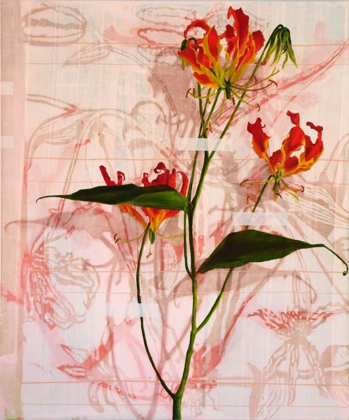 'Herbarium 4', Nikkie le Nobel, oil and embroidery