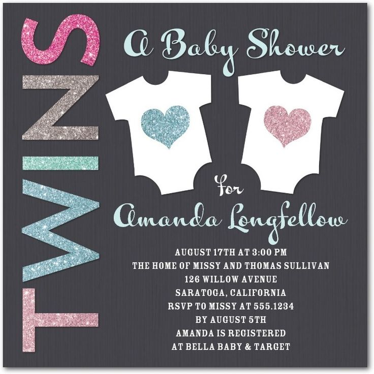 best  twin baby showers ideas on   cute baby shower, Baby shower invitation