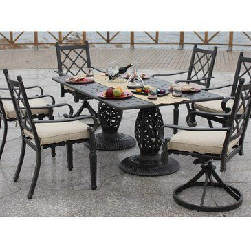 Zamora 7 Piece Patio Dining Set With Swivel Rocker Chair By Bellini Home And Gardens