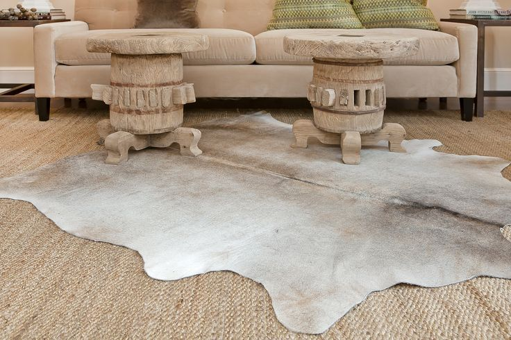 Cream And Grey Faux Cowhide Rug