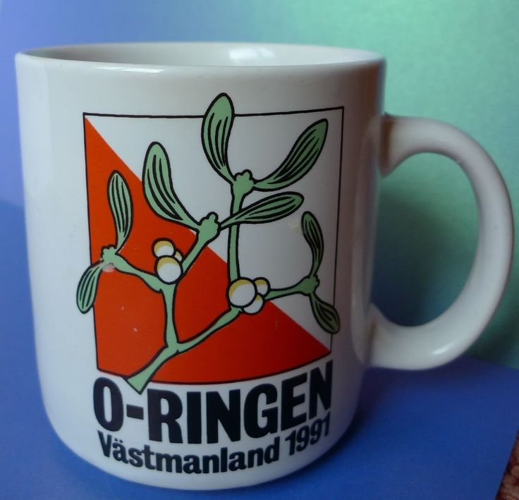 Vintage Sweden Ads collectibles Coffee Tea MUG CUP O-RINGEN Vastmanland 1991