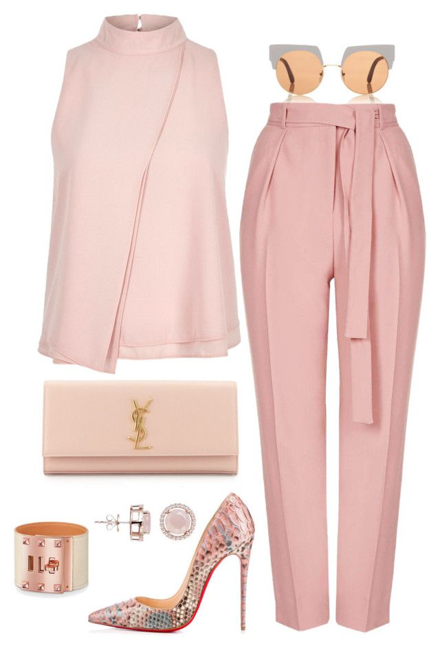 """Breast Cancer Awareness"" by fashionkill21 ❤ liked on Polyvore featuring Marni, Topshop, River Island, Christian Louboutin, Yves Saint Laurent and H.AZEEM"