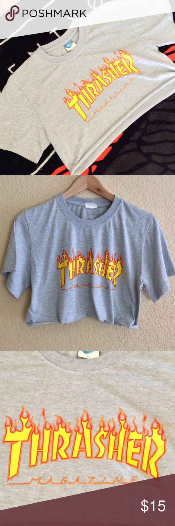 Thrasher Flame Crop Top S M Gray cropped T shirt. Tag size M, however may fit S-M. Not thrasher magazine. thrasher Tops Crop Tops