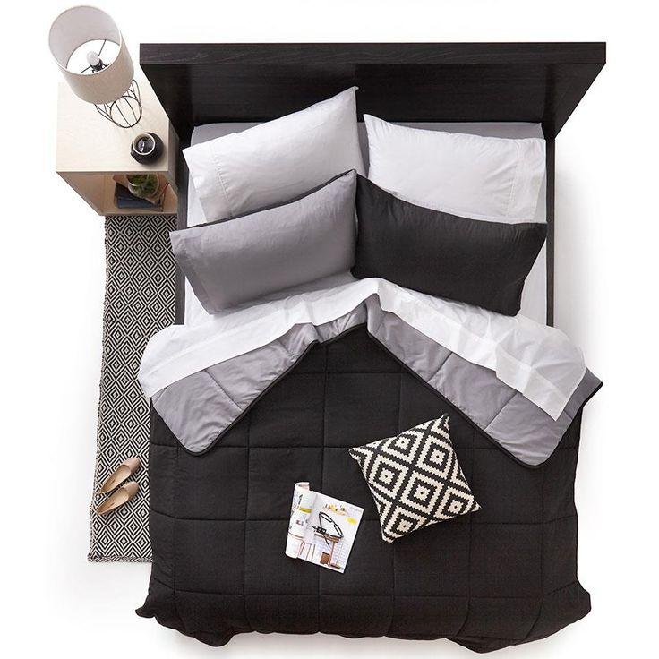 Homemaker Black with Reversible Grey Comforter Set - Queen   Kmart