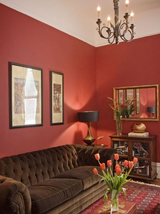Warm, colorful room with red wall which blends nicely with the oriental Afghan style rug, small coffee table, brown sofa and even the tulips.