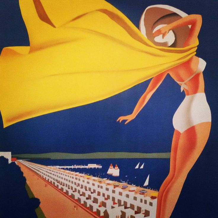 """YoYo atelier   #grado #poster by #mariopuppo, 1948. I'm reading this beautiful #book """"Travel Italia. The golden age of Italian travel posters"""", an anthology of #travel #vintage posters... love this one!  #italy #friuli #art #design #collection #tourism #goldenage #beach #summer #sea #illustration"""