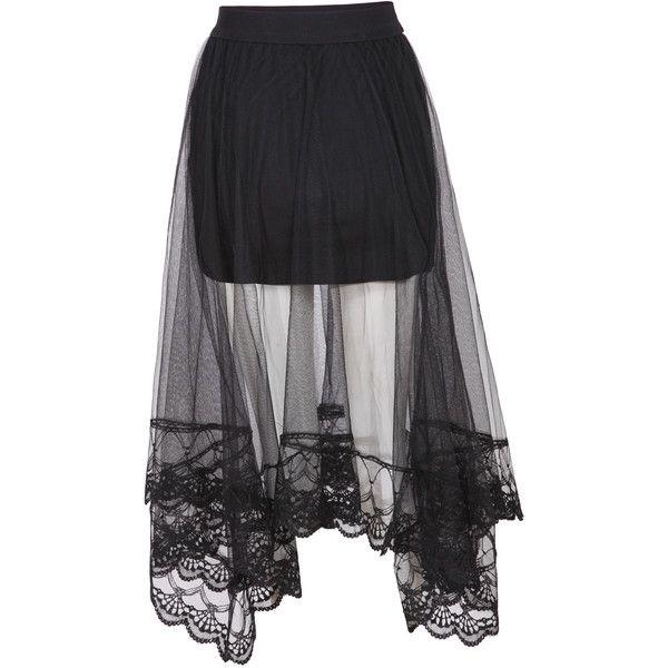SheIn(sheinside) Black Elastic Waist Embroidered Hem Mesh Skirt (38 BRL) ❤ liked on Polyvore featuring skirts, bottoms, sheinside, gonne, black, long skirts, full length skirt, mesh skirt, embroidered skirt and pleated skirt