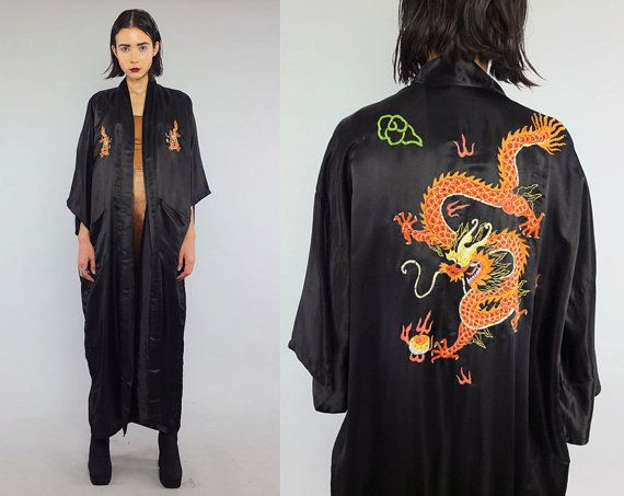 Vintage Black Asian DRAGON Embroidered Duster by theindustry