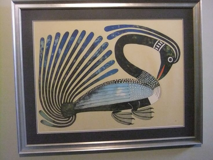 Long Necked Loon original lithograph (2008) by Kenojuak Ashevak complete with UV non-reflective glass