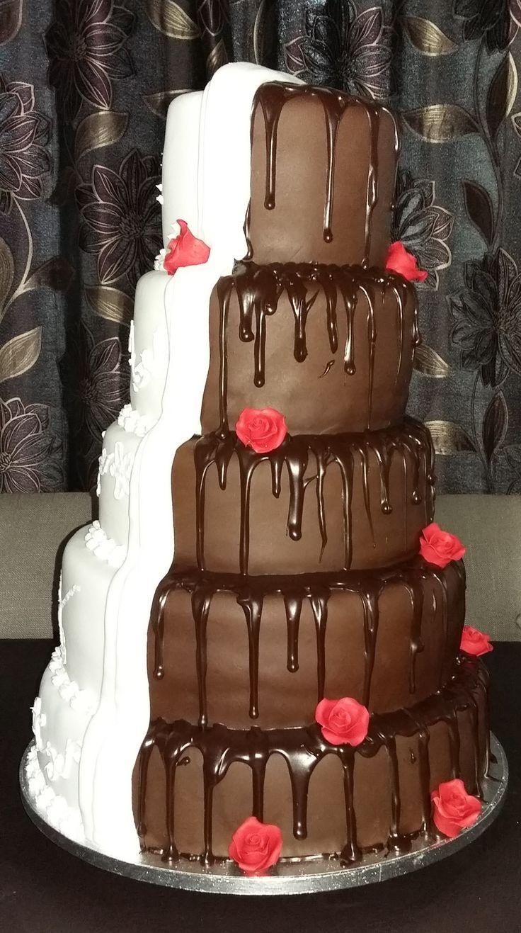 Half & Half Wedding Cake - Side  View