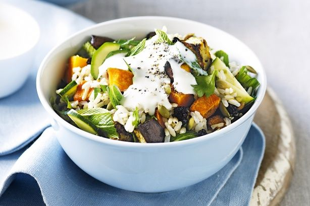Brown rice salad with eggplant and roasted pumpkin   Recipe   Brown ...