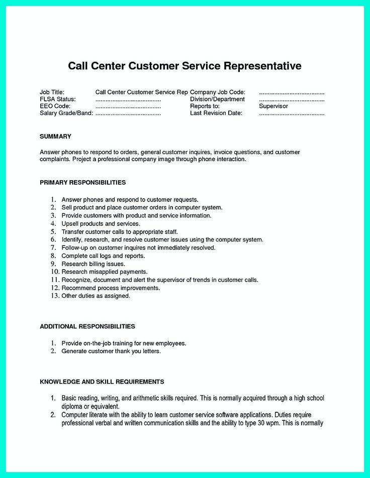 Call Center Job Description Resume - cv01.billybullock.us