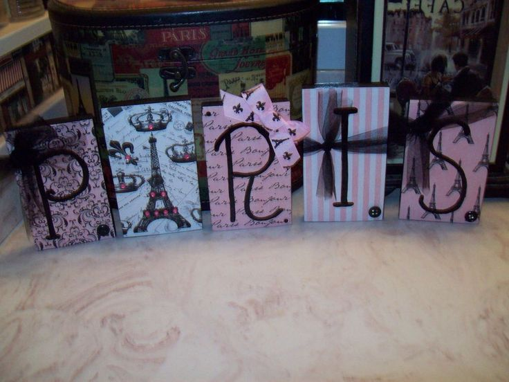 paris wall decor blocks sign light pink black shabby french chic eiffel toweru2026
