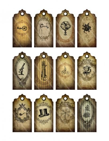 steampunk tags labels printable images digital collage
