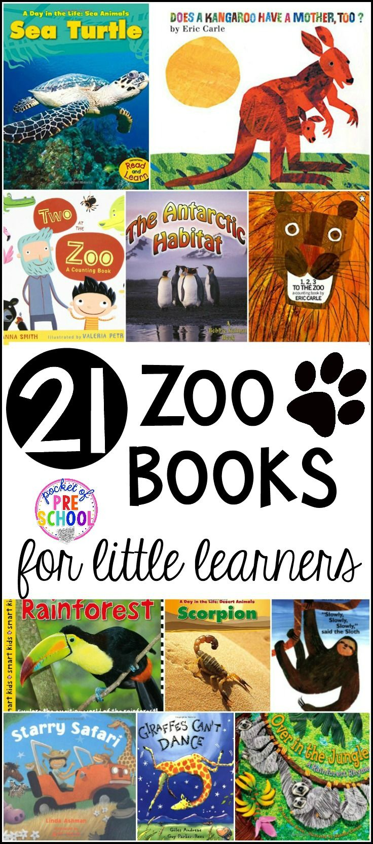 Our favorite Zoo Books for preschool, pre-k, and kindergarten kiddos. Animals books (non-fiction & fiction), animal counting books, and habitat books to squeeze in some science too. #preschool #prek #zoobooks #littlelearners #zootheme