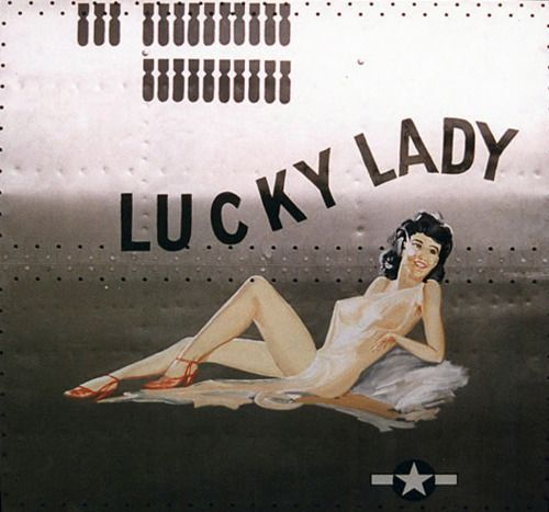 Nose Art From WWII 389th had a Lady Luck. AC #42-102689. Flew 134 missions returned to US 7/45