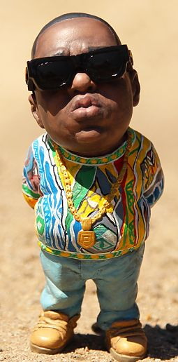 Notorious BIG Statue .Notorious BIG comes wearing a colorful sweater,sunglasses,and chain