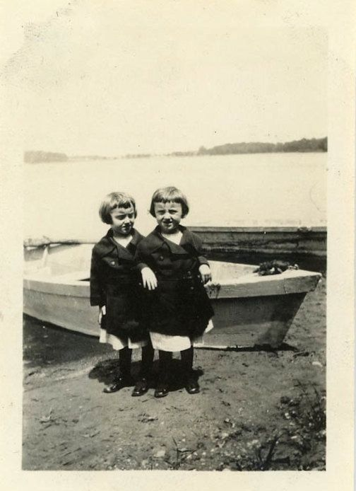 Vintage Photo Twins at the Lake Photography Paper by dawnandross, $4.00