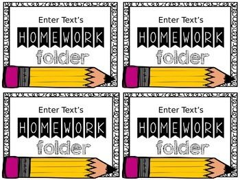 My student's LOVE having their name on their school supplies.Attach these labels to your student's homework folder!Font used: KG Second ChancesClipart: Krista Wallden - School Favorites