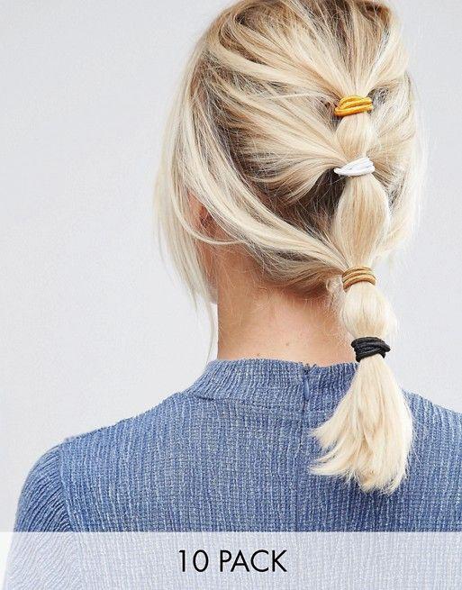 ASOS | ASOS Basics Pack of 10 Metallic Hair Ties