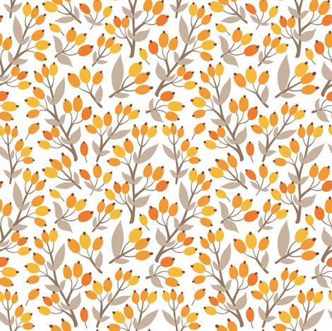 Sea buckthorn garden fabric by sky_lantern on Spoonflower - custom fabric